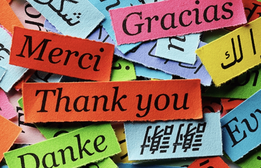 colorful pieces of paper with the word 'thank you' in various languages